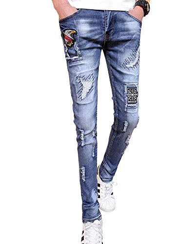 Wxian Men's Embroidered Frayed Hole Printing Letters Jeans 550 Relaxed Fit Jean Shorts