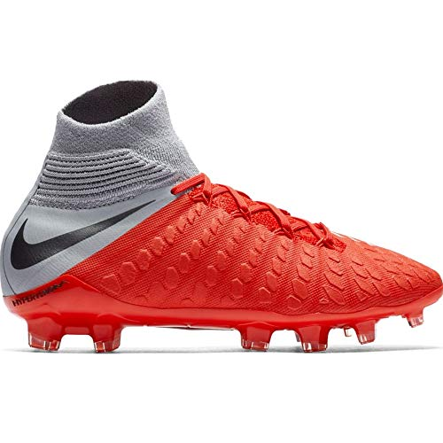 Nike Junior Hypervenom 3 Elite DF FG Soccer Cleats (Light Crimson/Metallic Dark Grey/Wolf Grey) (4.5 Youth)