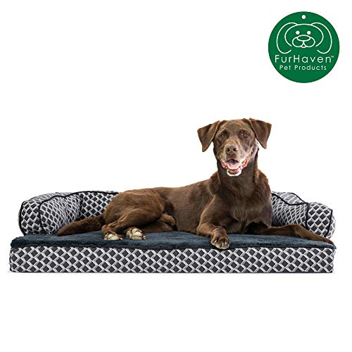 Furhaven Pet Dog Bed | Orthopedic Plush Faux Fur & Décor Comfy Couch Traditional Sofa-Style Living Room Couch Pet Bed w/ Removable Cover for Dogs & Cats, Diamond Gray, Large from Furhaven