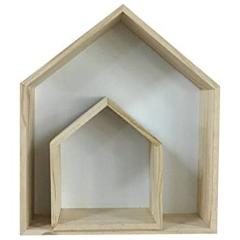 2PCS Lovely Wooden House-shaped Wall Storage Shelf Kid's Room Decoration (White)