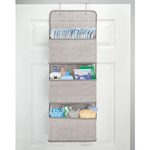 mDesign Over Door Fabric Baby Nursery Closet Organizer for Stuffed Animals, Diapers, Wipes, Towels - 3 Pockets, Linen