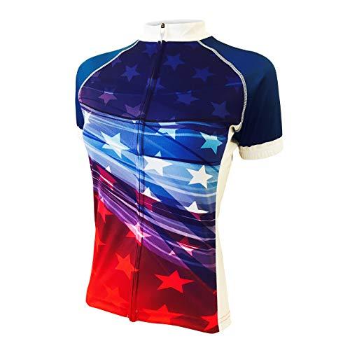 (Peak 1 Sports Stars & Stripes Women's Bike Jersey 2XL - Women's Blue)