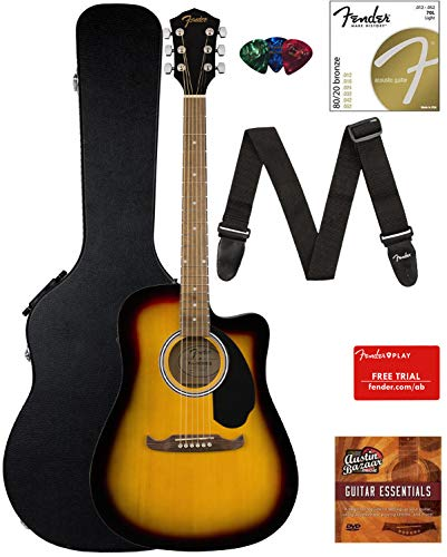 Fender FA-125CE Dreadnought Cutaway Acoustic-Electric Guitar – Sunburst Bundle with Hard Case, Strap, Strings, Picks, Fender Play Online Lessons, and Austin Bazaar Instructional DVD