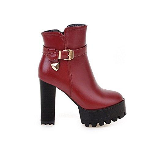 VogueZone009 Damen Hoher Absatz Weiches Material Niedrig Spitze Reißverschluss Stiefel, Rot, 38