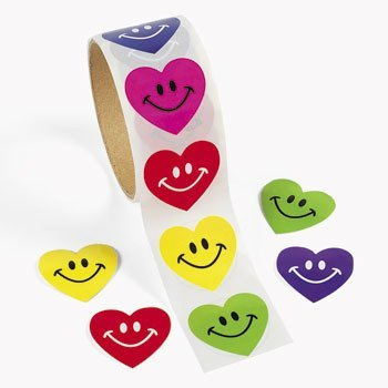 100 Smile Heart Roll Stickers, 1 Roll (Smiley Heart)