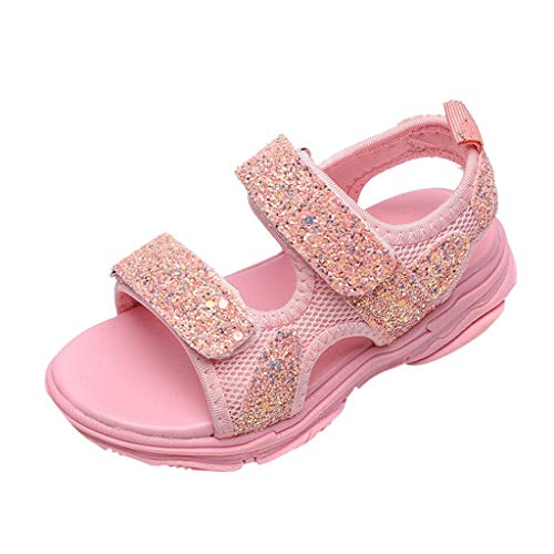 (WENSY Summer Children Baby Girl Boys Girl Sandals Grid Bling Sequins Soft Slip Sports Sneakers Beach Shoes(Pink,24))