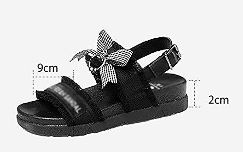 Flachen Roma Sommer Schwarz größe 40 Bowknot Schuhe Strand Student Boden Farbe ZCJB Sandalen Frau Wilden txBBaY