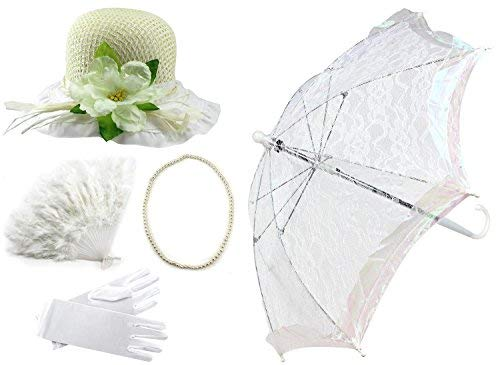Enimay Girl's Costume Tea Party Set Fan Hat Necklace Umbrella Gloves White -