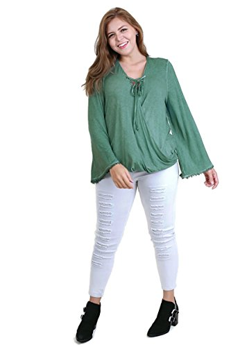 Umgee Women's Garment Dyed Bell Sleeve Tunic Top with Drawstring Neckline Plus Size (XL, Sage) Drawstring Silk Tunic