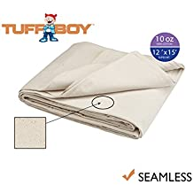 TUFFBOY 10 OZ. Super Weight Cotton Canvas All Purpose Drop Cloth 12 Ft. X 15 Ft. | SEAMLESS
