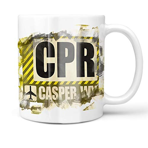 Neonblond 11oz Coffee Mug Airportcode CPR Casper, WY with your Custom Name