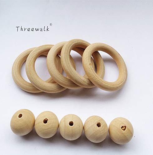 Calvas 30pcs Unfinished Wood Rings,50pc Wood Beads Round for DIY Toss -