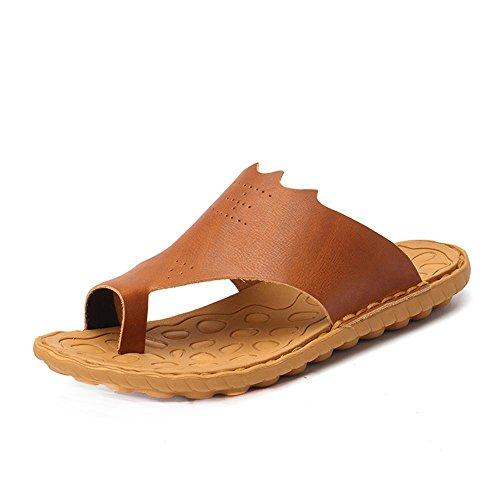 11 Slippers Outdoor Beach Luxury Flip Size Men Flops Plus Leather Brown Kemosen Male Genuine 7zH4qw