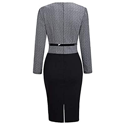 Babyonline Women Colorblock Wear to Work Business Party Bodycon One-Piece Dress at Women's Clothing store