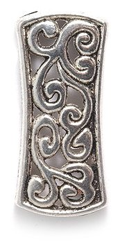 Shipwreck Beads Zinc Alloy 3 Hole Spacer Bar with Vine Motif, 10 by 25mm, Silver, 15-Pieces