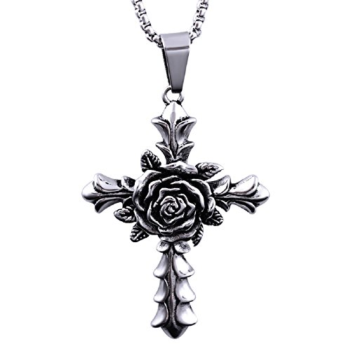 ZZY-J Titanium Stainless Steel Chain Rose Cross Retro Silver Pendant Necklace for Men Women 24 Inch - Retro Cross Necklace