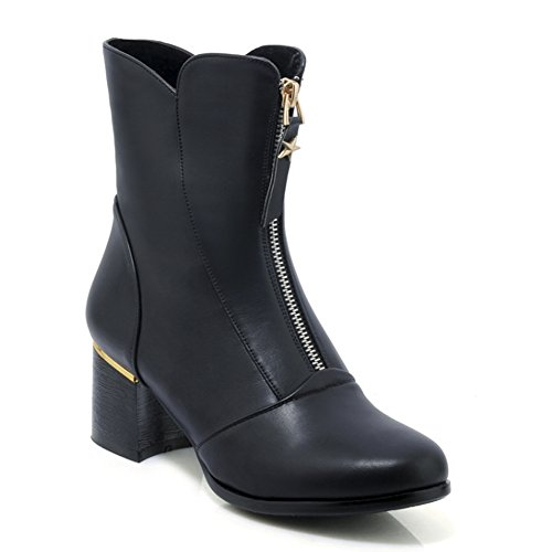 Boots Front Women Booties Toe QZUnique PU Mid Ankle Black Surface Martin Round Chunky Zipper Heel Z0ddq5w
