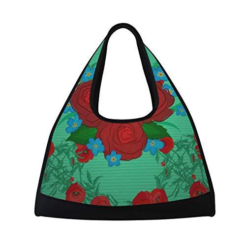 5a136fec8 Gym Bag, Sports Duffle Bag Vintage Rose Flowers Training Handbag Large  Travel Shoulder Tote Bag Tennis Badminton Racket Bag for Men Women