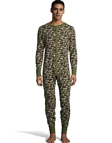 - Hanes Mens Waffle Knit Thermal Union Suit, 4XL, Camo Green