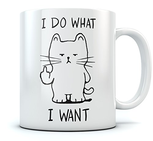 I Do What I Want Cat Funny Coffee Mug Birthday Gift For Him, Her, Men or Women Xmas Present Idea For Cat Lovers, Mom, Dad, Son, Daughter, Husband, Wife or Cat Loving Coworker Sturdy Mug 15 Oz. White