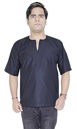mens-fashion-cotton-short-kurta-yoga-dress-short-sleeve-t-shirt-size-l