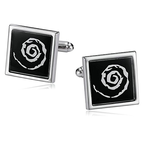 Aokarry Jewelry Mens Cufflinks Stainless Steel Cuff Links Silver Black Hole Square Shape Cufflinks (Sterling Silver Skull Coin Set)