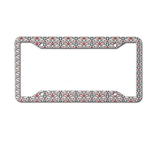 Nostalgic Rose - Dinzisalugg Swirled Baroque Branches with Tulip Blooms Rococo Nostalgic Rose Pattern License Plate Frame Car tag Cover Aluminum Car for US Canada Standard 4 Holes and Screws