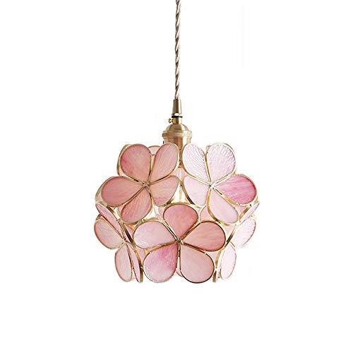 Phwii Hanging Pendant Lighting Fixture Handmade Glass Shade with Brass Finish Height Adjustable Fantastic Modern One-Light Ceiling Lamp