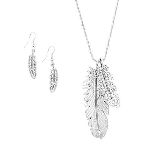 Rosemarie Collections Women's Double Feather Long Necklace Dangle Earrings Set (Silver Tone) (Double Feather Earrings)