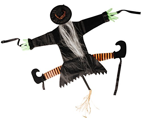 Halloween Witch Outdoor Decorations (Crashing Witch Halloween Decoration - Put on Doors, Trees, or Walls for a Fun Halloween Home Decoration)