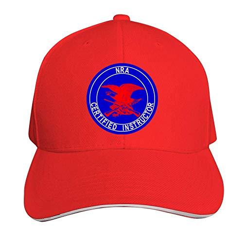 GIDIGOU Unisex America NRA Certified Instructor Fashion Sun Sandwich Snapback Hat Dad Running Baseball Caps Red