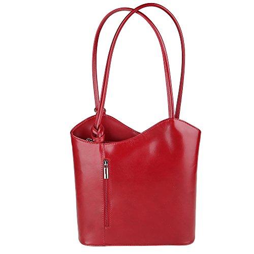 Chicca Borse Bolsa Mujer en Cuero Genuino Made in Italy 28x30x9 Cm Rojo
