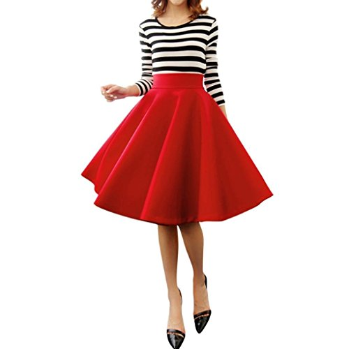 Minetom Mujeres Niñas Elegante Afueras Rodilla Longitud Cintura Alta Minifalda Falda Plisada Vestidos Rojo
