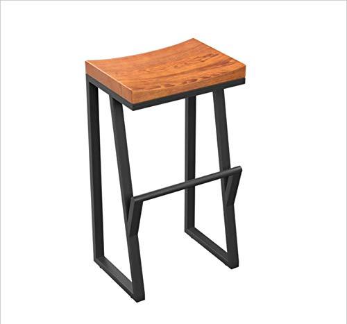 FENGFAN Iron Bar Stool/Bar Chair/Industrial Scandinavian Style/Lightweight/Black Wooden Breakfast Stool (Size : 36x38x75cm)