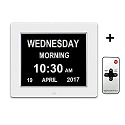 Day Clock Extra Large Impaired Vision Digital Clock with Battery Backup & 12 Alarm Options-[Newest Version] (WHITE)