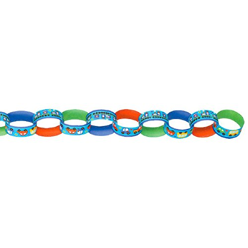 All Aboard Boy Printed Paper Chain Link Garland, Birthday, 12 Ct.
