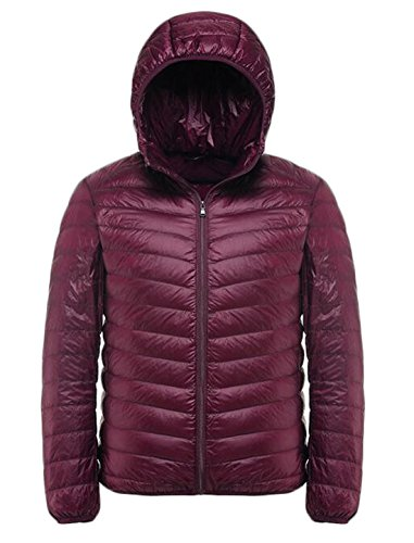 Down EKU Red Down Wine Hooded US L Fashion Jacket Puffer Coat Men's Packable 11qH4Yw