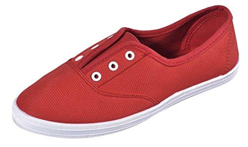 Cambridge Välj Kvinna Slip-on Sluten Rund Tå Stretch Elastisk Ingen Spets Platt Plimsoll Mode Sneaker Röd