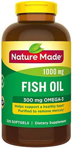 Nature Made Fish Oil 1000 mg Softgels, 320 Count for Heart Health† (Packaging May Vary)