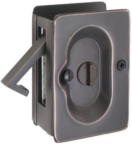 Emtek 3-1/2'' Height Solid Brass Privacy Pocket Door Lock Oil Rubbed Bronze