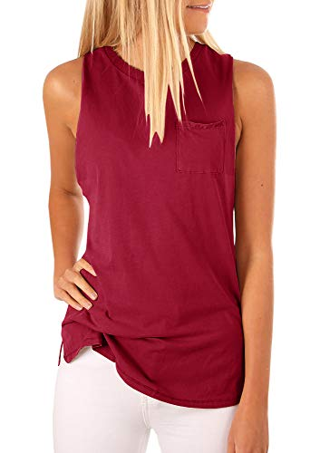 Tutorutor Women's High Neck Cami Tank Top Summer Sleeveless T Shirts Plain Pocket 2019 Tunic Tops Blouses Burgundy ()