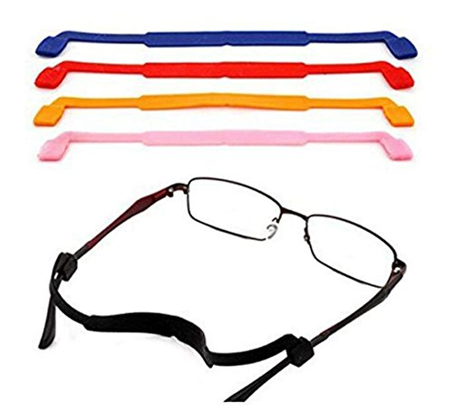 5PCS Mixed Colors Anti-Slip Glasses Strap Sports Glasses Strap Holder Universal Eyeglasses Sunglasses Anti-Slip Elastic Silicone Headband Strap for Sports and Outdoor Activities
