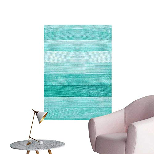 Jaydevn Teal Decor Waterproof Art Wall Paper Poster Painted Wood Texture Penal Horizontal Lines Birthdays Easter Holiday Print Backdrop Mural Blackboard DIY White Turquoise W32 x H48 ()