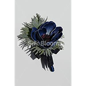 Artificial Real Touch Blue Anemone Scottish Wedding Buttonhole 116