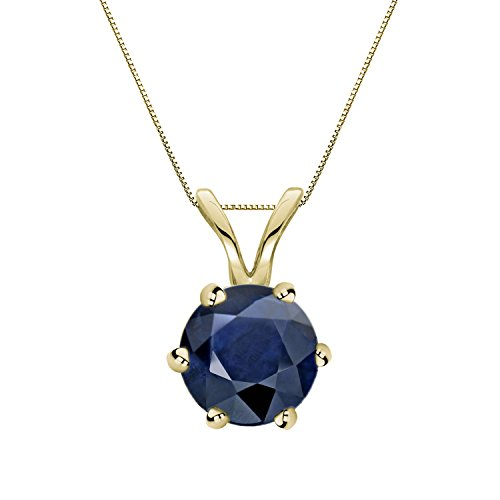 14k Yellow Gold 6-Prong Basket Round-cut Blue Sapphire Gemstone Solitaire Pendant 1 cttw.