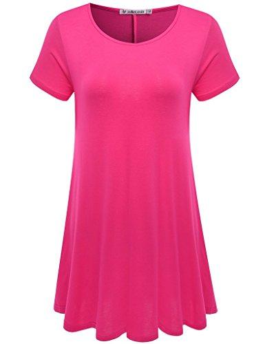Jollielovin Womens Short Sleeve Loose Fit Flare Hem T Shirt Tunic Top  Rosepink  Xl