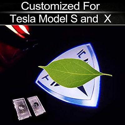 Topfit Welcome Lamp LED Interior Light Upgrade Kit Logo Door Courtesy Welcome Lamp Emblem car door LED light Compatible Tesla Model S/X (2 of A Set,White)