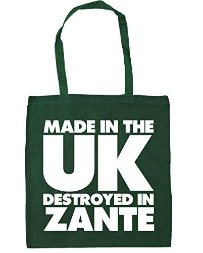 HippoWarehouse hergestellt in Großbritannien Zerstört in Zakynthos Einkaufstasche Fitnessstudio Strandtasche 42cm x38cm, 10 liter - Flaschengrün, One size