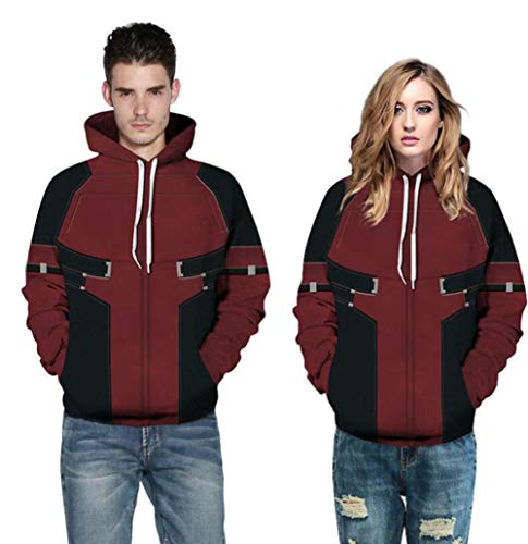 QIONGQIONG Baseball Sports Wild Fashion Halloween Costume Couple Husband and Wife Hooded Elastic Sweater Festival Activity Party Role Play 3D Black Red Color Matching Realistic,L/XL ()