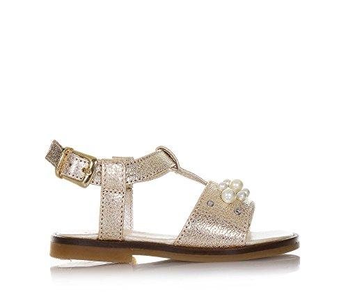 Twin-Set Goldene Sandale Aus Leder, phantasievoll und Modisch, auf der Vorderseite Kleine Perlen, Mädchen-27
